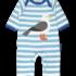 Toby Tiger sleepsuit Zeemeeuw lichtblauw