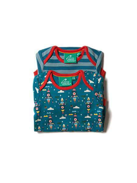 Little Green Radicals 2-pack rompers Night Sky Rockets