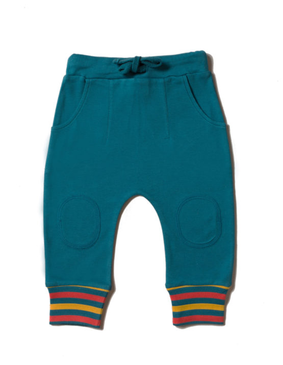 Little Green Radicals joggingbroek Navy Rainbow Rib