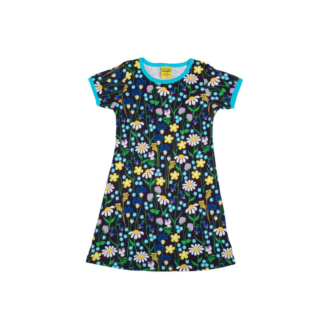 Duns short sleeve dress Midsummer Flower Purple