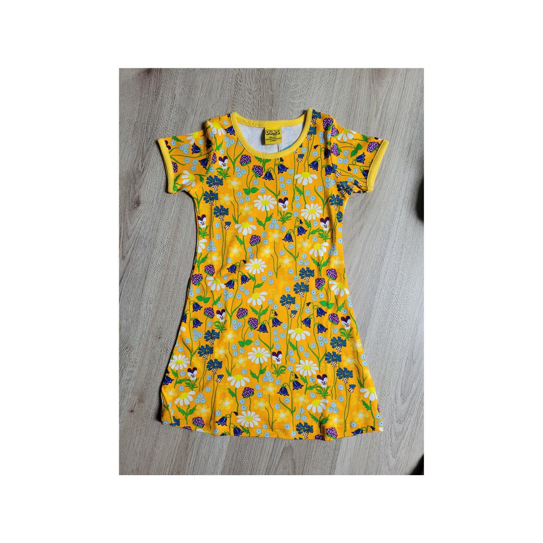 Duns short sleeve dress Midsummer Flower Yellow